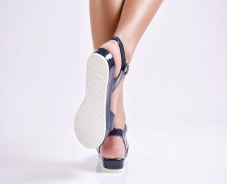 Дамски равни  сандали еко лак тъмно сини
