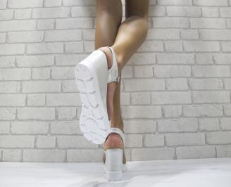 Дамски сандали на платформа еко кожа сребристи