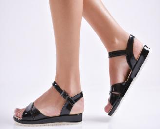 Дамски равни  сандали еко лак черни
