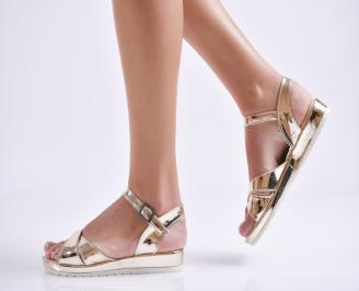 Дамски равни  сандали еко лак златисти