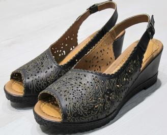 Дамски сандали -Гигант естествена кожа черни