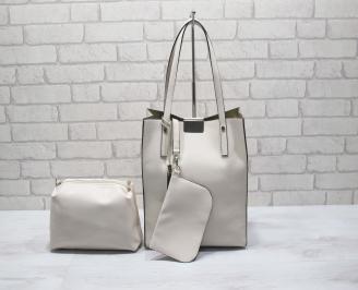 Дамска чанта еко кожа бежова 3