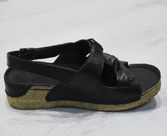 Дамски сандали-Гигант естествена кожа черни 3