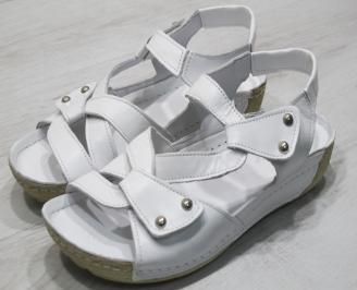 Дамски  сандали  Гигант  бели естествена кожа