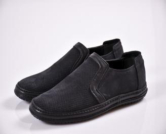 Мъжки обувки черни естествен набук
