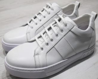 Мъжки спортни обувки естествена кожа бели