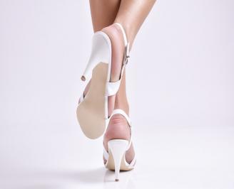 Дамски елегантни сандали еко кожа/лак бяло 3