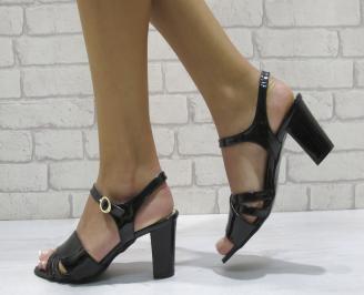 Дамски елегантни сандали еко кожа/лак черно