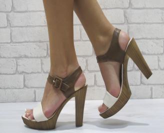 Дамски елегантни сандали еко кожа бежави