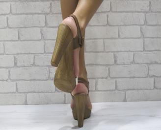 Дамски елегантни сандали еко кожа бежави 3