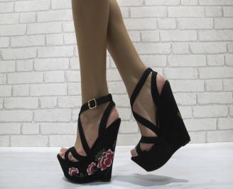 Дамски сандали на платформа текстил черни
