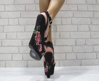 Дамски сандали на платформа текстил черни 3