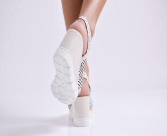 Дамски сандали на платформа естествена кожа бежови 3