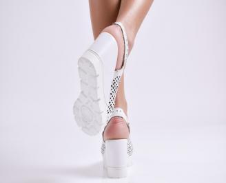 Дамски сандали на платформа естествена кожа бели 3