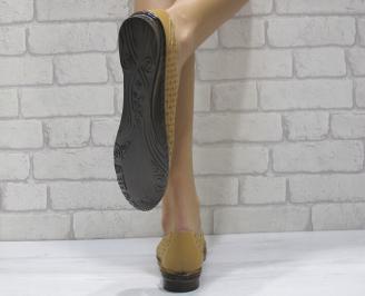 Дамски  обувки  равни  естествена кожа бежови 3