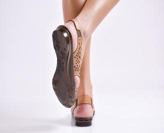 Дамски равни  сандали естествена кожа кафяви 3