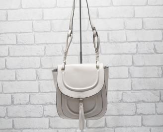 Дамска чанта еко кожа/лак светла пудра