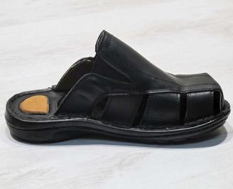 Мъжки чехли -Гигант естествена кожа черни 3