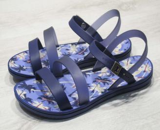 Дамски равни силиконови сандали сини