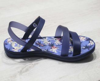 Дамски равни силиконови сандали сини 3
