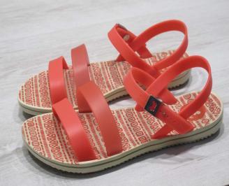 Дамски равни силиконови сандали оранжеви