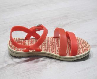 Дамски равни силиконови сандали оранжеви 3