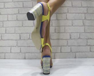 Дамски елегантни сандали еко кожа жълти 3