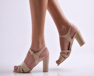 Дамски елегантни сандали еко кожа бежово