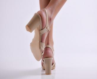 Дамски елегантни сандали еко кожа бежово 3