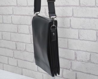 Мъжка чанта черна естествена кожа 3