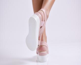 Дамски сандали на платформа еко кожа пудра 3