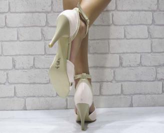 Дамски елегантни сандали еко кожа/лак пудра 3