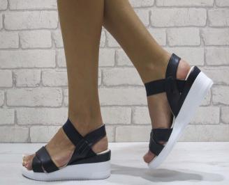 Дамски сандали на платформа еко кожа сини