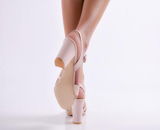 Дамски елегантни сандали еко кожа пудра 3