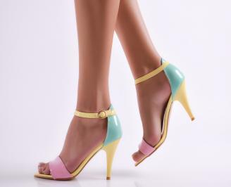 Дамски елегантни сандали еко кожа/лак жълти