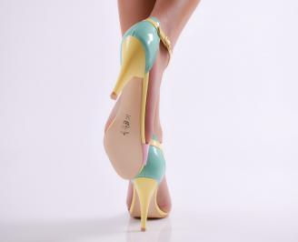 Дамски елегантни сандали еко кожа/лак жълти 3