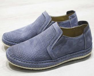 Мъжки спортно елегантни  обувки естествена кожа  тъмно сини