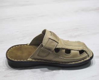 Мъжки чехли естествена кожа бежови 3