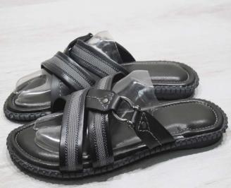 Мъжки чехли естествена кожа черно сиви