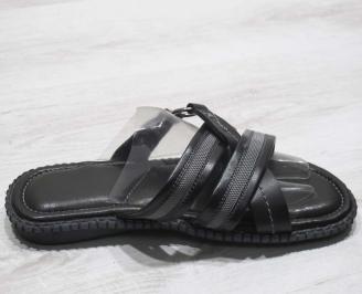 Мъжки чехли естествена кожа черно сиви 3