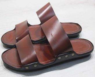 Мъжки чехли естествена  кожа червени