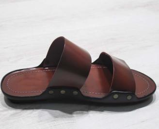 Мъжки чехли естествена  кожа червени 3