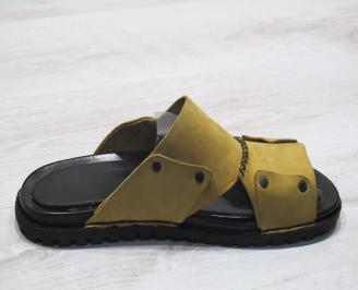 Мъжки чехли естествена кожа камел 3
