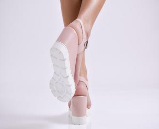 Дамски сандали на платформа естествена кожа пудра 3