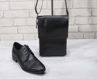 Комплект мъжки обувки и чанта черен естествена кожа