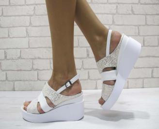 Дамски сандали на платформа естествена кожа бяло/златисто