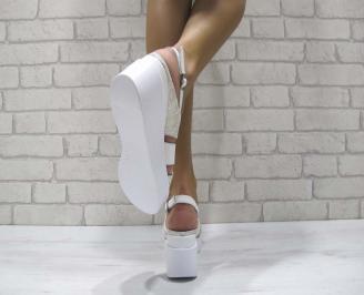 Дамски сандали на платформа естествена кожа бяло/златисто 3