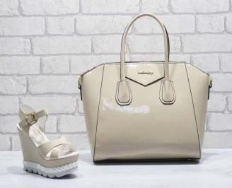 Комплект дамски сандали и чанта еко кожа/ лак бежови
