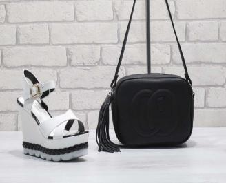 Комплект дамски сандали и чанта еко кожа/лак  черно/бяло