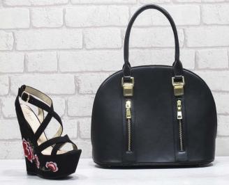 Комплект дамски сандали и чанта еко кожа/текстил черни